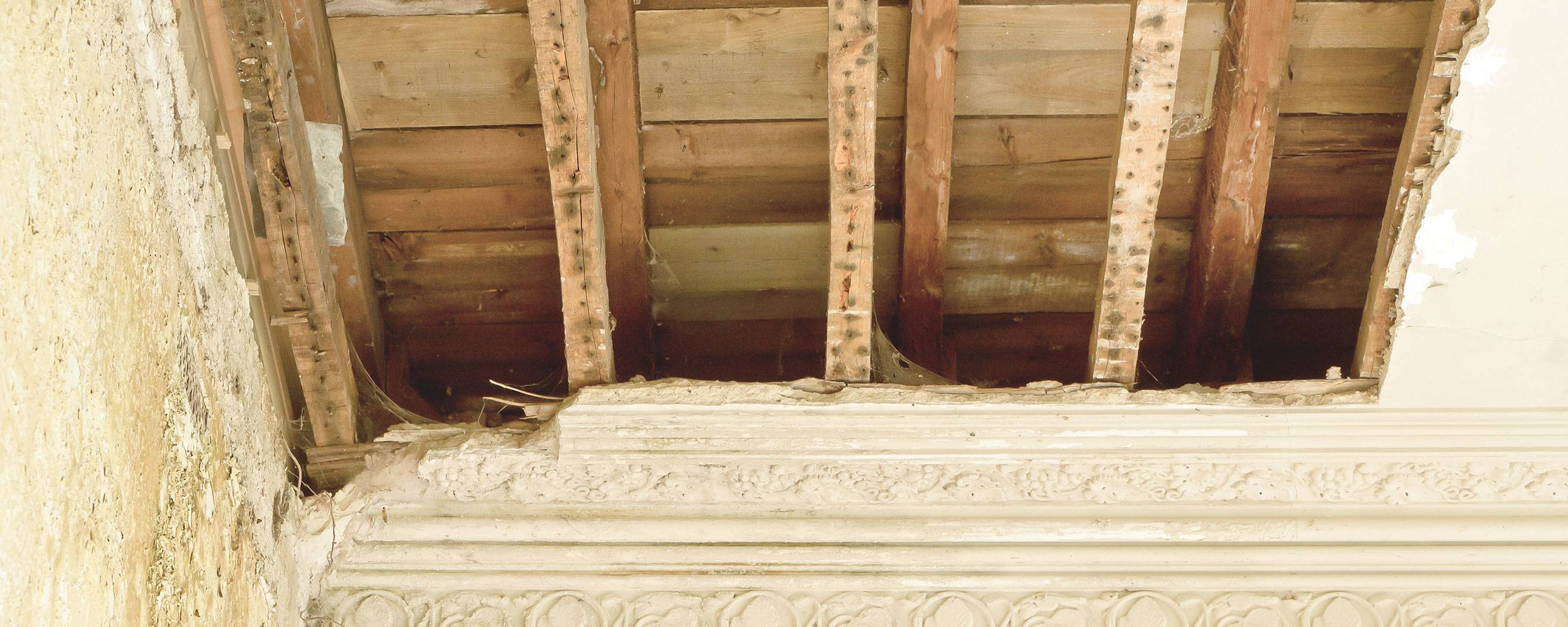 ceiling damage due to a damp problem